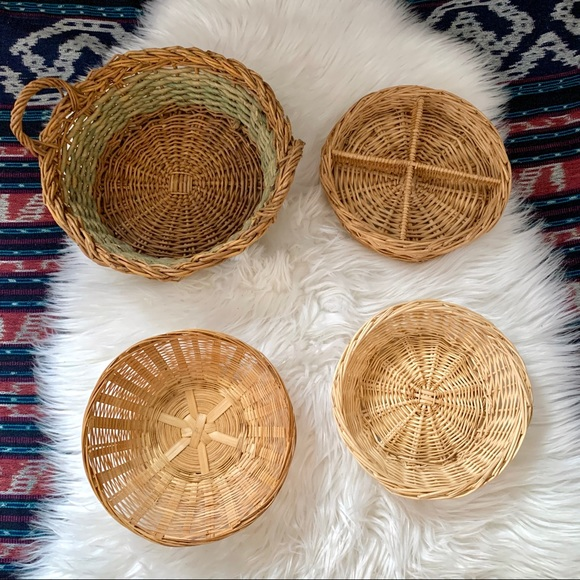 Set of 4 vintage rattan wicker baskets bowls tray